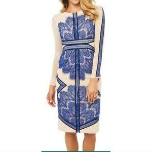 Long sleeve mesh royal blue lace pencil dress